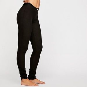 Free People Lou Lou Thermal Leggings Black Rouched